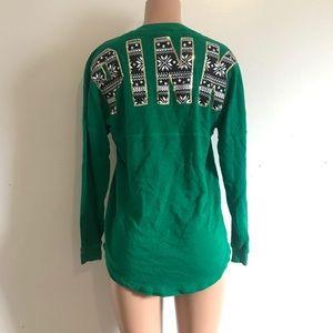 VS Pink Green Snowflake Sequin Sweatshirt